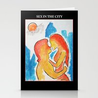 sex and the city Stationery Cards featuring SEX IN THE CITY   by KEVIN CURTIS BARR'S ART OF FAMOUS FACES