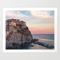 "Cinque Terre Photography, ""Manarola"" Large Art Print, Travel Wall Art, Living Room Fine Art Photo Art Print"