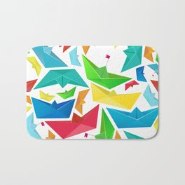 Origami boats multicolour seamless pattern Bath Mat