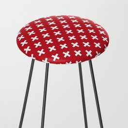 Criss Cross | Plus Sign | Red and White Counter Stool