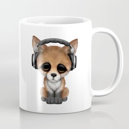 Cute Red Fox Cub Dj Wearing Headphones Coffee Mug