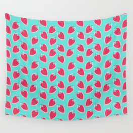 Pink & Blue Strawberries Wall Tapestry