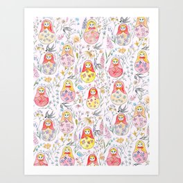 Russian dolls and flowers_ink and watercolor 3 Art Print
