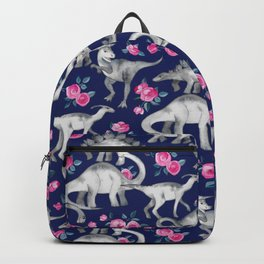 Dinosaurs and Roses on Dark Blue Purple Backpack