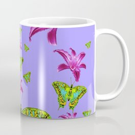GREEN MOTHS & PURPLE LILIES LILAC COLOR Coffee Mug