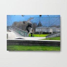 Skateboarding Fool Metal Print