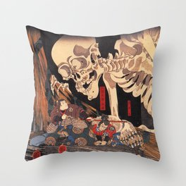 Takiyasha the Witch and the Skeleton Spectre, by Utagawa Kuniyoshi Throw Pillow