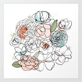 Inky Camellias Art Print