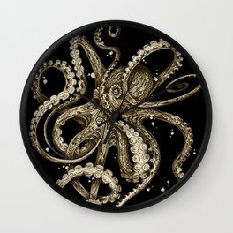 Octopsychedelia Sepia Wall Clock