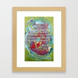 Abstract (Colossians 3:23) - English  Framed Art Print