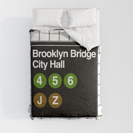 subway brooklyn bridge sign Comforters