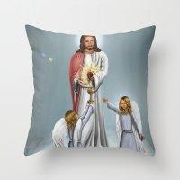 christ Throw Pillows featuring Jesus Christ by Georgi Minkov