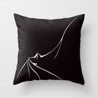 bat man Throw Pillows featuring BAT MAN by MISTER BLACKWHITE