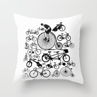 bicycles Throw Pillows featuring Bicycles by Ewan Arnolda