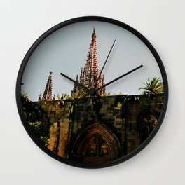 Barcelona gothic cathedral Photo by Larry Simpson Wall Clock
