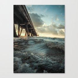 Waves Under Pier Canvas Print