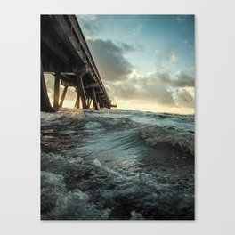 Waves Under Pier Canvas Print