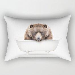 Brown Bear in a Vintage Bathtub (c) Rectangular Pillow