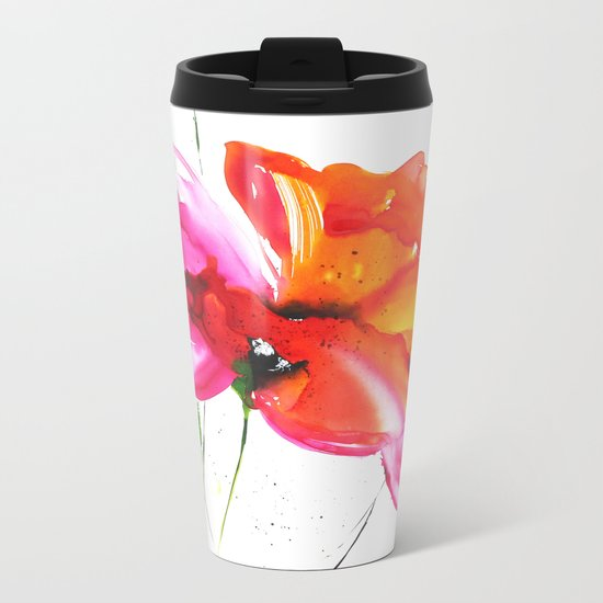 Abstract flower colorful painting Metal Travel Mug