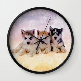 Siberian Husky Puppies Wall Clock