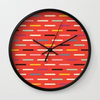 scandinavian Wall Clocks featuring Modern Scandinavian Dash Red by Season of Victory
