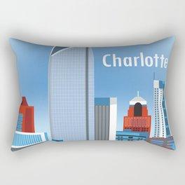 Charlotte, North Carolina - Skyline Illustration by Loose Petals Rectangular Pillow