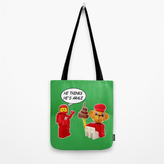 "space lego meeting the ""arale wannabe"" monkey Tote Bag"