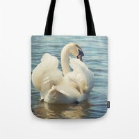 swan Tote Bags featuring Swan by Svetlana Sewell