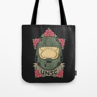 halo Tote Bags featuring Halo UNSC by Daniel Mackey