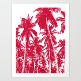 Palm Trees Design in Red and White Art Print