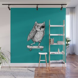 Ride On Owl_teal Wall Mural