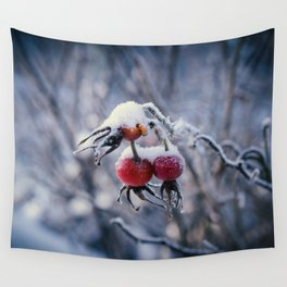 Rose hips and snow Wall Tapestry