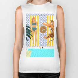 How To Vacay With Your Tiger #illustration Biker Tank