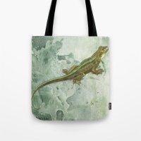 lizard Tote Bags featuring Lizard by Michelle Behar
