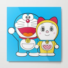 Doraemon Hello Metal Print