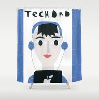 dad Shower Curtains featuring Tech Dad by Susse Collection