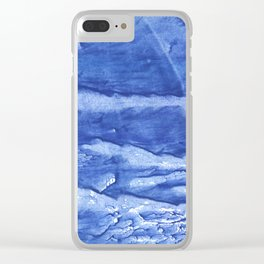 Steel blue vague watercolor painting Clear iPhone Case