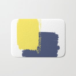 Calm & Happy Abstract Painting Yellow Blue Bath Mat