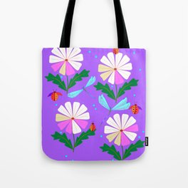 A Spring Rain on Daisies with Lady Bugs and Dragonflies Tote Bag