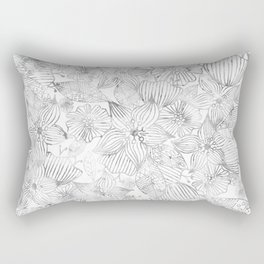 Hand painted black white watercolor tribal floral Rectangular Pillow