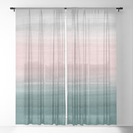 Touching Teal Blush Gray Watercolor Abstract #1 #painting #decor #art #society6 Sheer Curtain