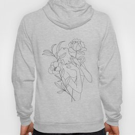 Minimal Line Art Woman with Peonies Hoody