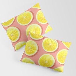 Lemon Slices on Pink Pillow Sham