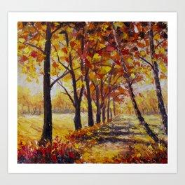 Sunny autumn landscape  - Palette Knife Oil Painting On Canvas By Valery Rybakow  Art Print