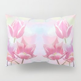 Painterly pastel spring with tulips Pillow Sham