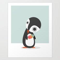 Pingu Loves Icecream Art Print