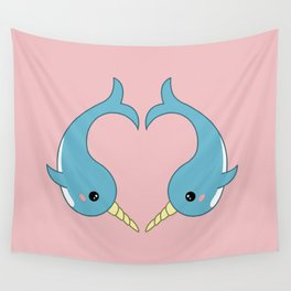 Narwhal heart Wall Tapestry