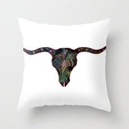Long Horn Web Head 2 Throw Pillow