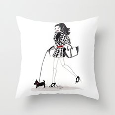 Houndstooth and a Scottie Watercolor Fashion Illustration Throw Pillow