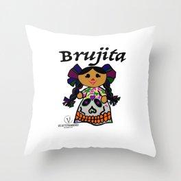 Brujita Calacas Throw Pillow